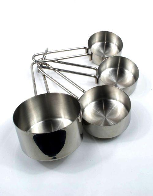 Set de 4 tazas para medir alimentos en acero inoxidable. -imagen-principal