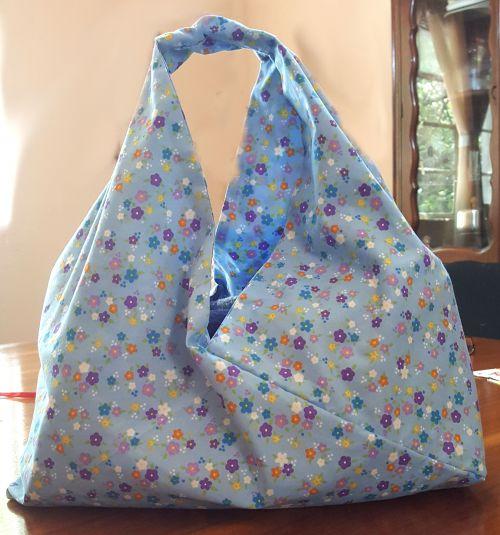 Bolsa Origami japones en tela 100% algodón, Ideal para cargar tus compras del supermercado.-portada