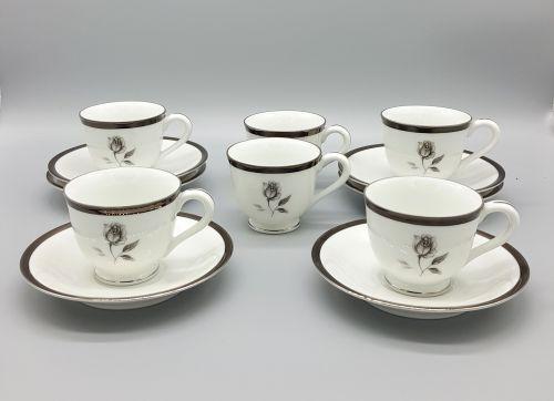 Juego de 6 tazas de porcelana japonesa modelo Midnight Rose HC-100. Piezas originales y nuevas. -portada
