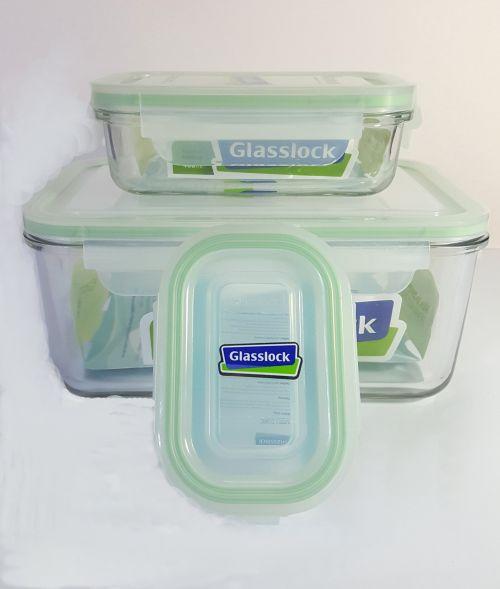 Juego de refractarios marca Glasslock fabricados en vidrio templado. -portada