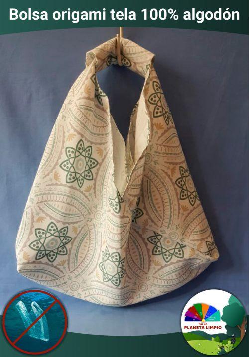Bolsa origami fabricada en loneta. Muy resiste, durable y con gran capacidad. -portada